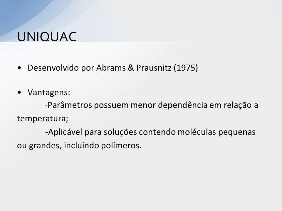Desenvolvido por Abrams & Prausnitz (1975) Vantagens: - Parâmetros possuem menor dependência em relação a temperatura; -Aplicável para soluções conten