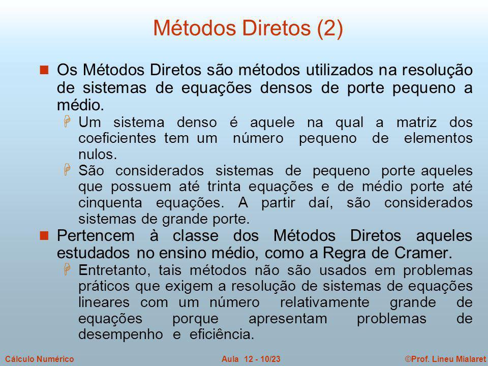 ©Prof. Lineu MialaretAula 12 - 10/23Cálculo Numérico n Os Métodos Diretos são métodos utilizados na resolução de sistemas de equações densos de porte