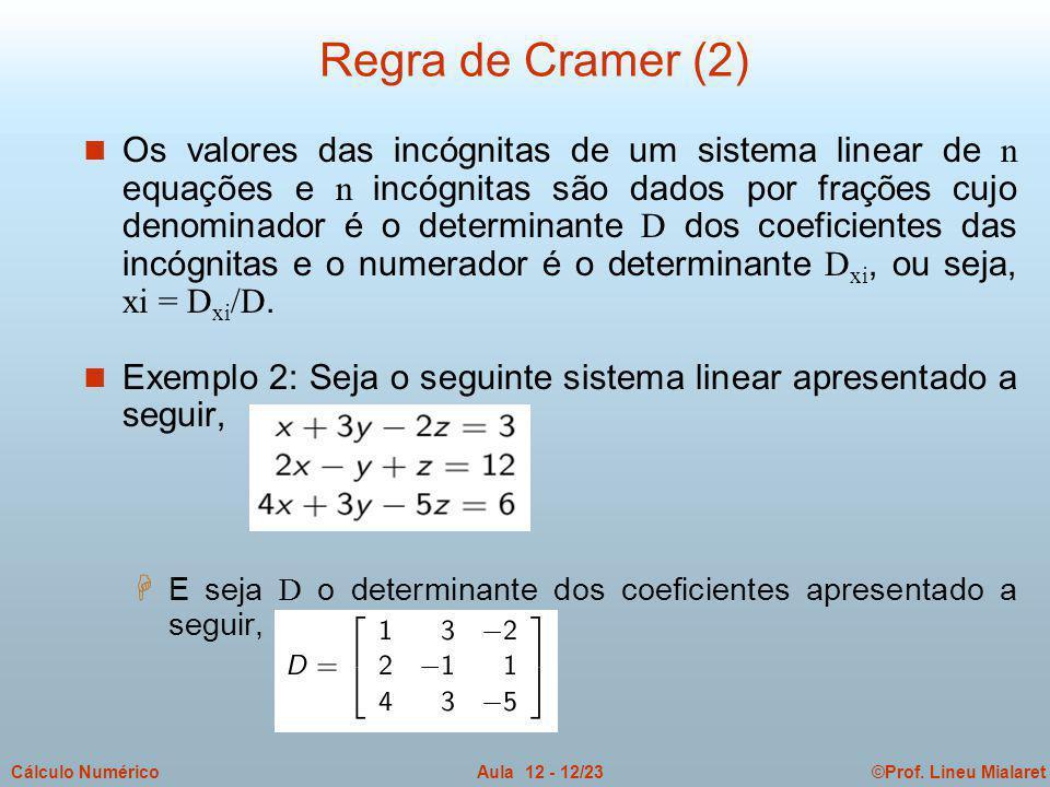 ©Prof. Lineu MialaretAula 12 - 12/23Cálculo Numérico Os valores das incógnitas de um sistema linear de n equações e n incógnitas são dados por frações