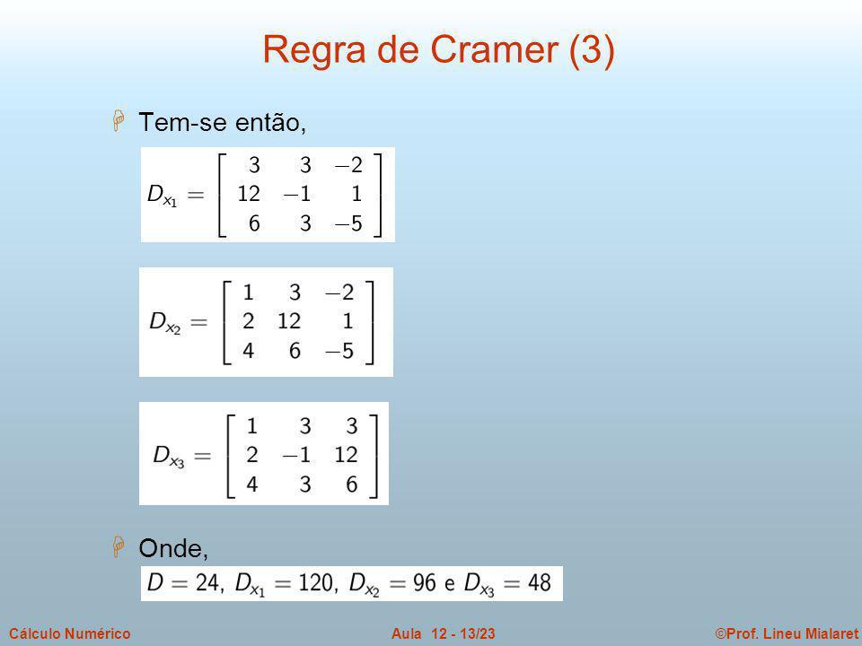 ©Prof. Lineu MialaretAula 12 - 13/23Cálculo Numérico H Tem-se então, H Onde, Regra de Cramer (3)