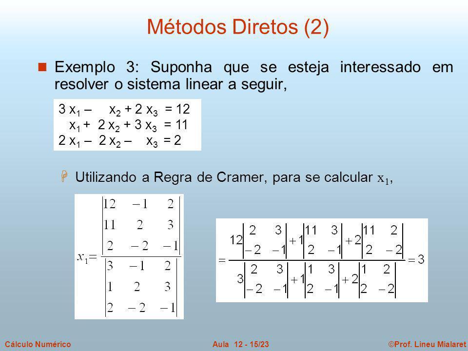 ©Prof. Lineu MialaretAula 12 - 15/23Cálculo Numérico n Exemplo 3: Suponha que se esteja interessado em resolver o sistema linear a seguir,  Utilizand
