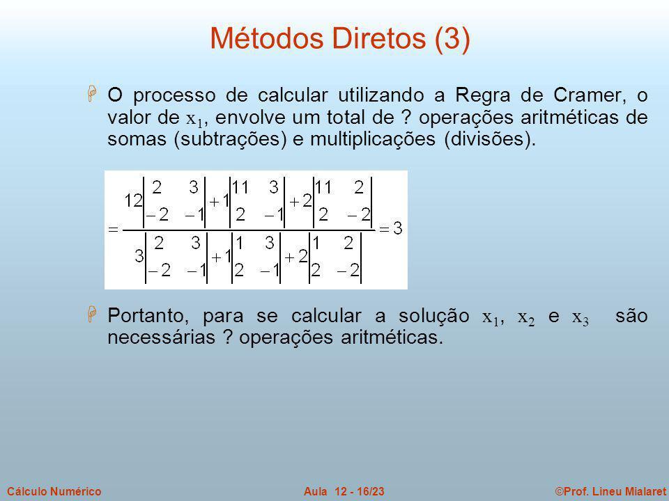 ©Prof. Lineu MialaretAula 12 - 16/23Cálculo Numérico  O processo de calcular utilizando a Regra de Cramer, o valor de x 1, envolve um total de ? oper