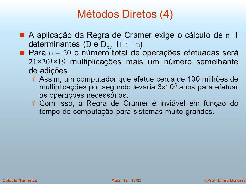©Prof. Lineu MialaretAula 12 - 17/23Cálculo Numérico A aplicação da Regra de Cramer exige o cálculo de n+1 determinantes ( D e D xi, 1i n ) Para n = 2