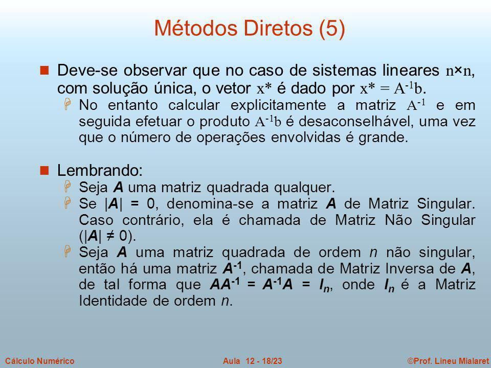 ©Prof. Lineu MialaretAula 12 - 18/23Cálculo Numérico Deve-se observar que no caso de sistemas lineares n×n, com solução única, o vetor x* é dado por x