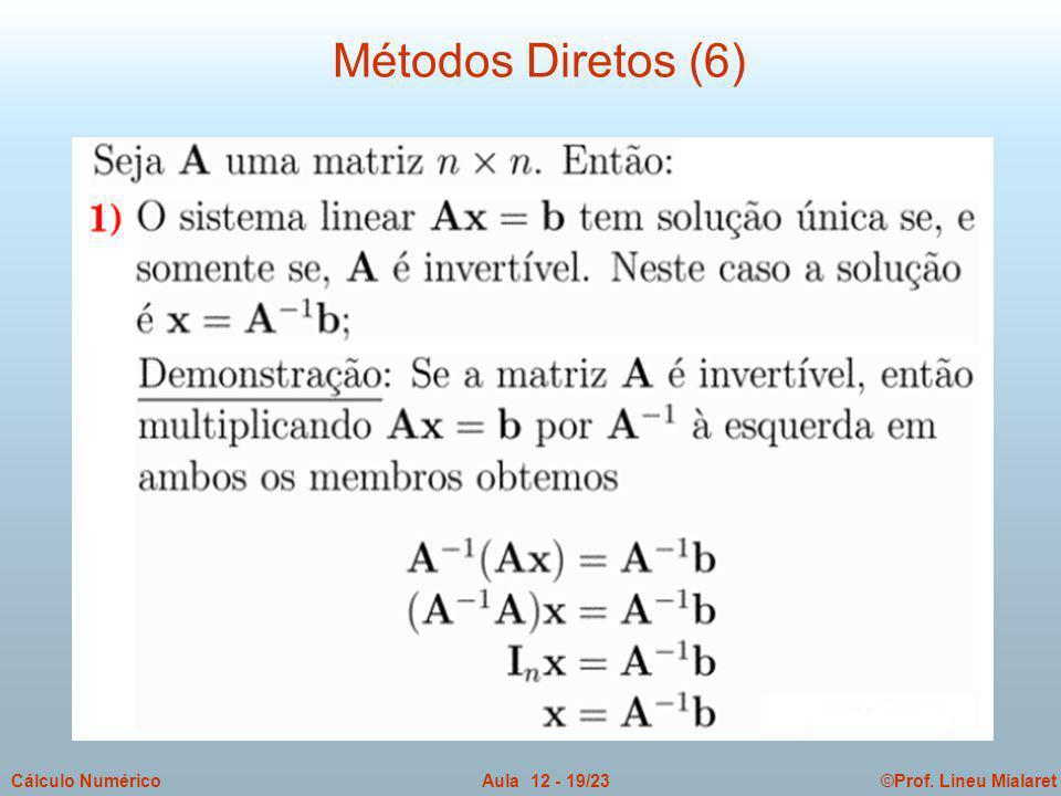 ©Prof. Lineu MialaretAula 12 - 19/23Cálculo Numérico Métodos Diretos (6)
