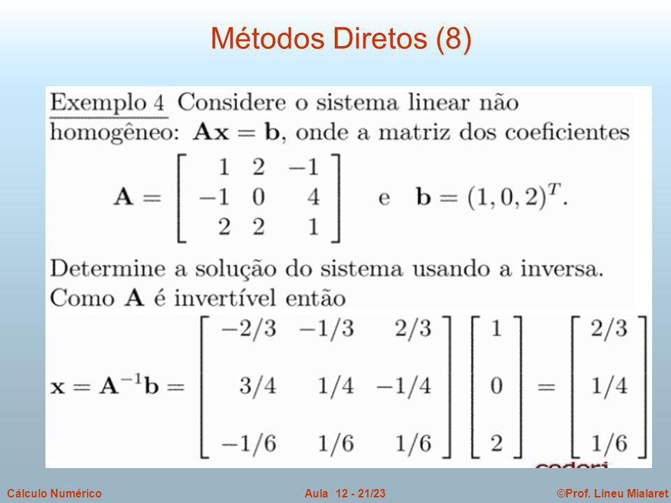 ©Prof. Lineu MialaretAula 12 - 21/23Cálculo Numérico Métodos Diretos (8)