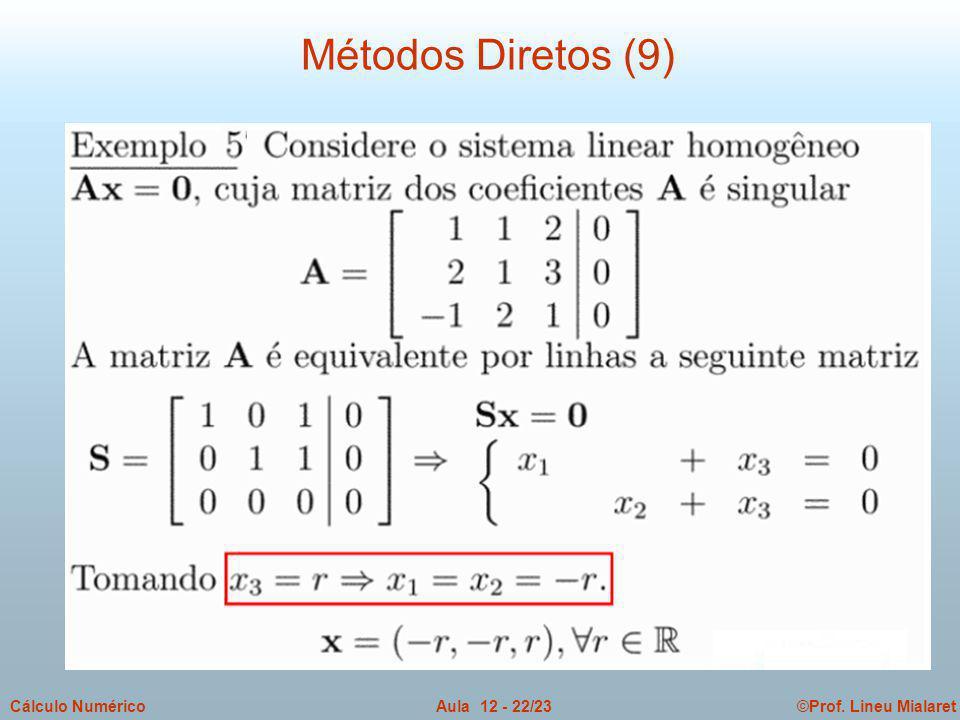 ©Prof. Lineu MialaretAula 12 - 22/23Cálculo Numérico Métodos Diretos (9)