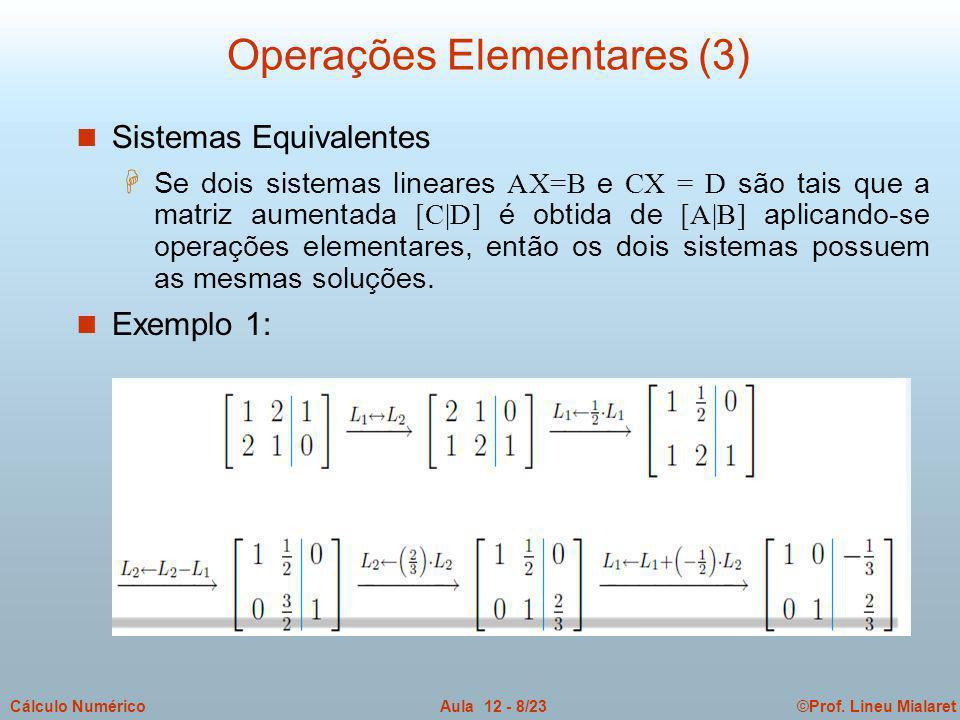 ©Prof. Lineu MialaretAula 12 - 8/23Cálculo Numérico n Sistemas Equivalentes  Se dois sistemas lineares AX=B e CX = D são tais que a matriz aumentada