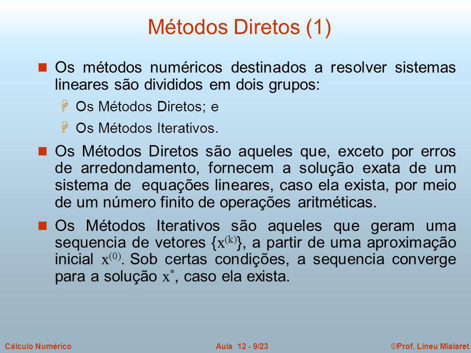 ©Prof. Lineu MialaretAula 12 - 9/23Cálculo Numérico n Os métodos numéricos destinados a resolver sistemas lineares são divididos em dois grupos: H Os