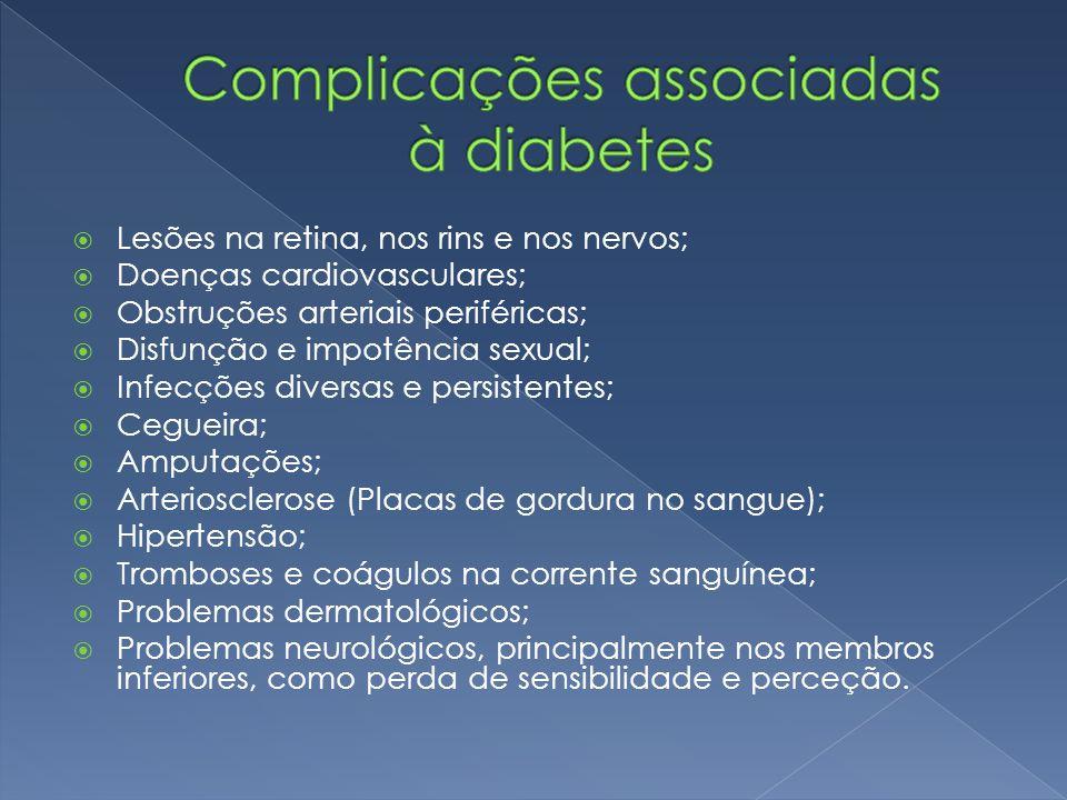  Lesões na retina, nos rins e nos nervos;  Doenças cardiovasculares;  Obstruções arteriais periféricas;  Disfunção e impotência sexual;  Infecçõe