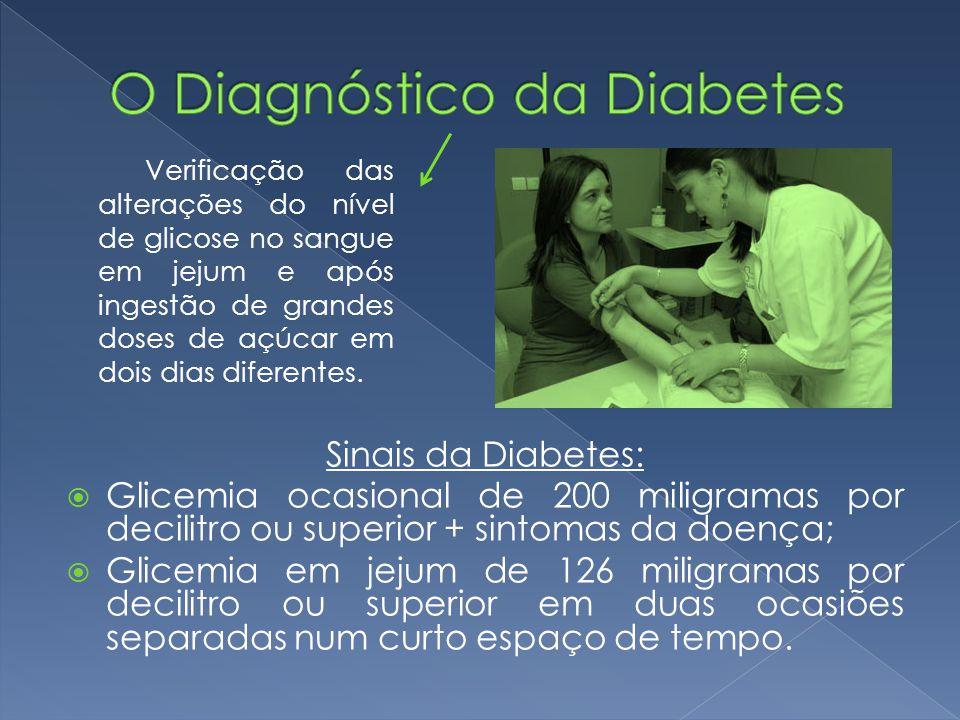 Sinais da Diabetes:  Glicemia ocasional de 200 miligramas por decilitro ou superior + sintomas da doença;  Glicemia em jejum de 126 miligramas por d