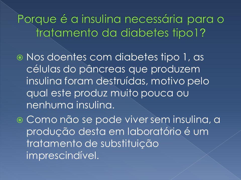  Nos doentes com diabetes tipo 1, as células do pâncreas que produzem insulina foram destruídas, motivo pelo qual este produz muito pouca ou nenhuma