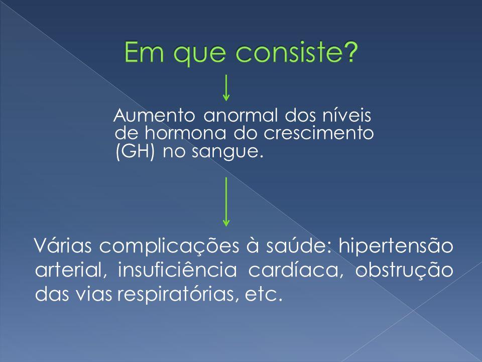 Várias complicações à saúde: hipertensão arterial, insuficiência cardíaca, obstrução das vias respiratórias, etc. Aumento anormal dos níveis de hormon
