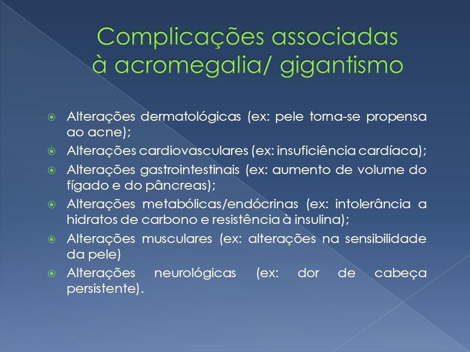  Alterações dermatológicas (ex: pele torna-se propensa ao acne);  Alterações cardiovasculares (ex: insuficiência cardíaca);  Alterações gastrointestinais (ex: aumento de volume do fígado e do pâncreas);  Alterações metabólicas/endócrinas (ex: intolerância a hidratos de carbono e resistência à insulina);  Alterações musculares (ex: alterações na sensibilidade da pele)  Alterações neurológicas (ex: dor de cabeça persistente).