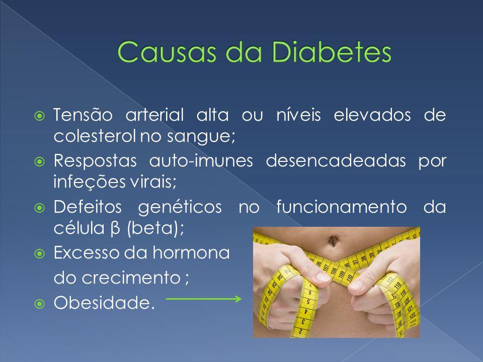  Tensão arterial alta ou níveis elevados de colesterol no sangue;  Respostas auto-imunes desencadeadas por infeções virais;  Defeitos genéticos no funcionamento da célula β (beta);  Excesso da hormona do crecimento ;  Obesidade.