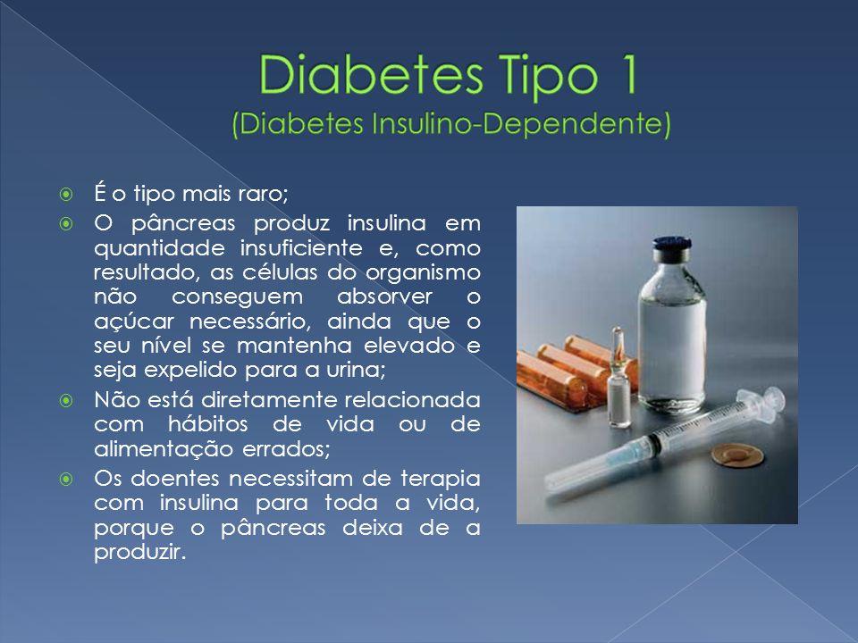  É o tipo mais raro;  O pâncreas produz insulina em quantidade insuficiente e, como resultado, as células do organismo não conseguem absorver o açúc
