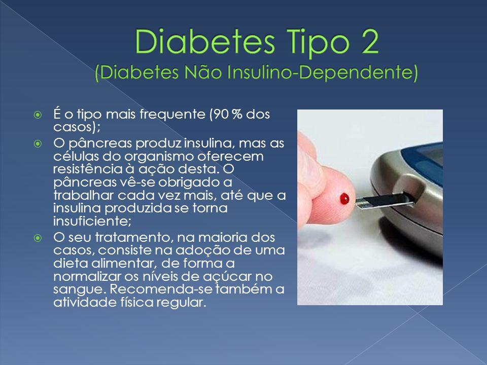  É o tipo mais frequente (90 % dos casos);  O pâncreas produz insulina, mas as células do organismo oferecem resistência à ação desta. O pâncreas vê