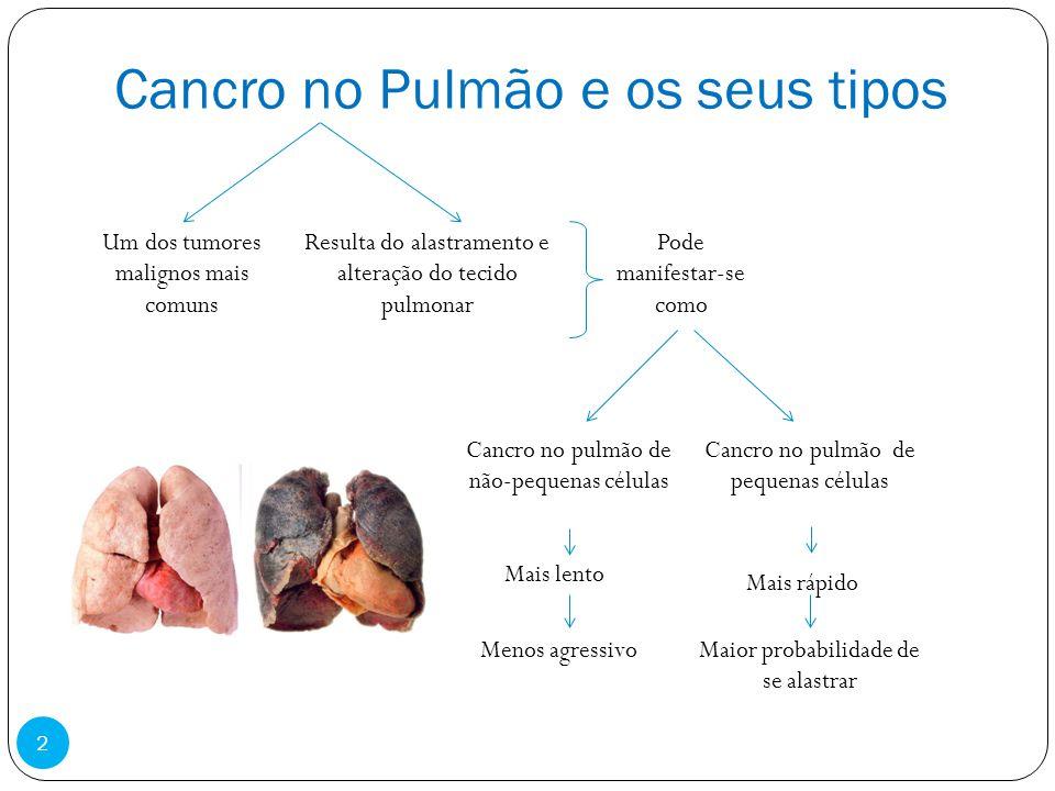 Cancro no Pulmão e os seus tipos Um dos tumores malignos mais comuns Resulta do alastramento e alteração do tecido pulmonar Pode manifestar-se como Ca