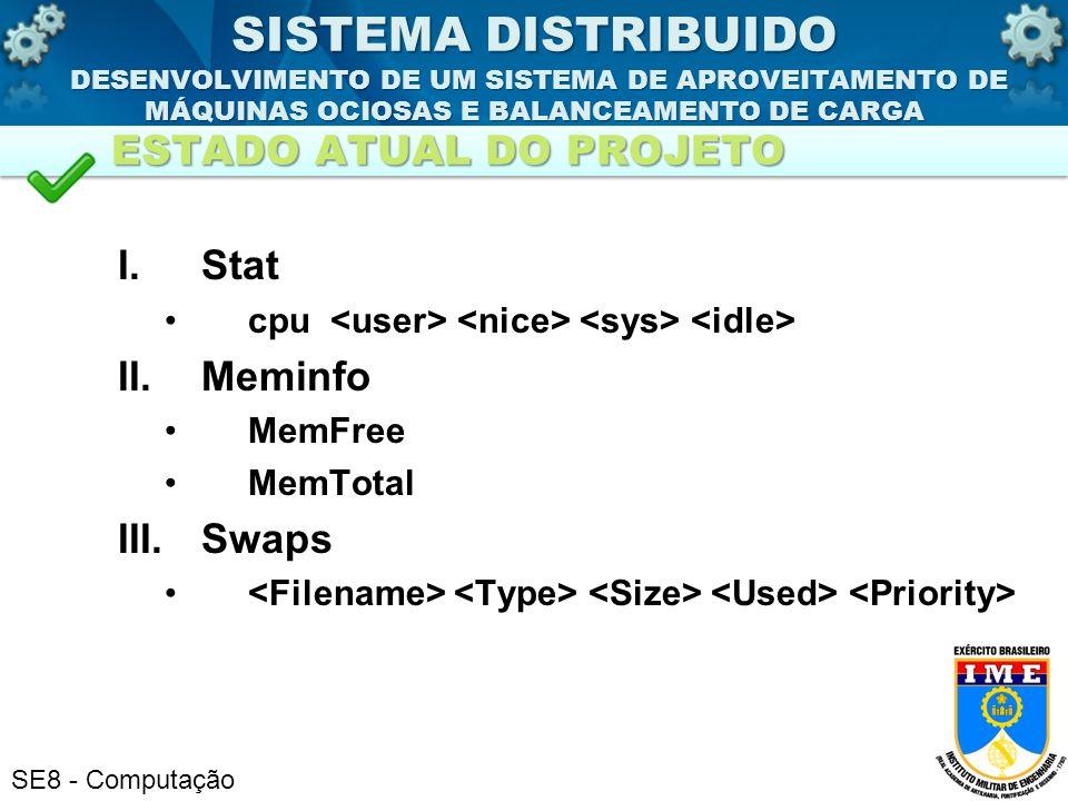 SE8 - Computação I.Stat cpu II.Meminfo MemFree MemTotal III.Swaps SISTEMA DISTRIBUIDO DESENVOLVIMENTO DE UM SISTEMA DE APROVEITAMENTO DE MÁQUINAS OCIO