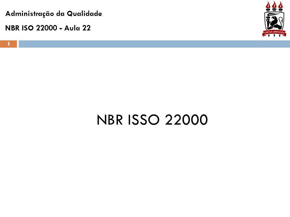 1 NBR ISSO 22000 Administração da Qualidade NBR ISO 22000 - Aula 22