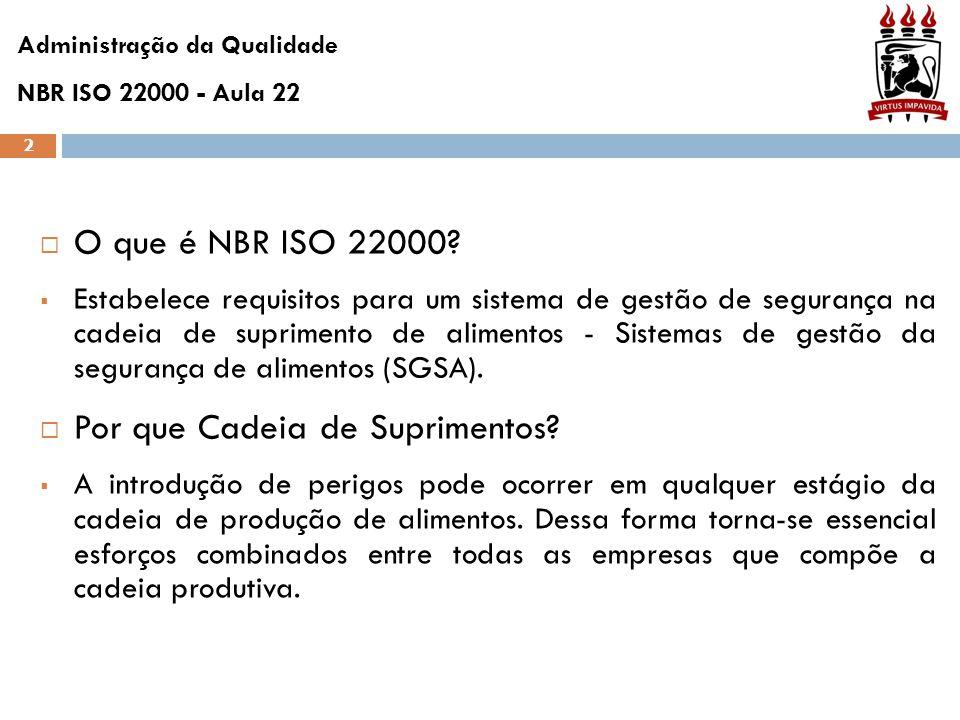 2  O que é NBR ISO 22000?  Estabelece requisitos para um sistema de gestão de segurança na cadeia de suprimento de alimentos - Sistemas de gestão da
