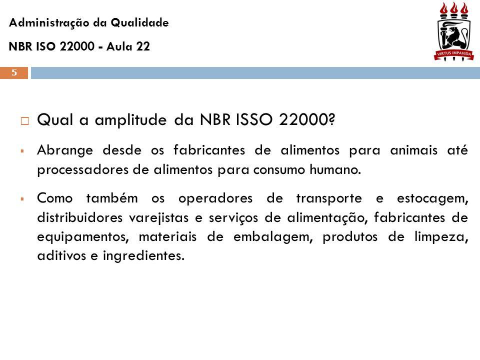 5  Qual a amplitude da NBR ISSO 22000?  Abrange desde os fabricantes de alimentos para animais até processadores de alimentos para consumo humano. 