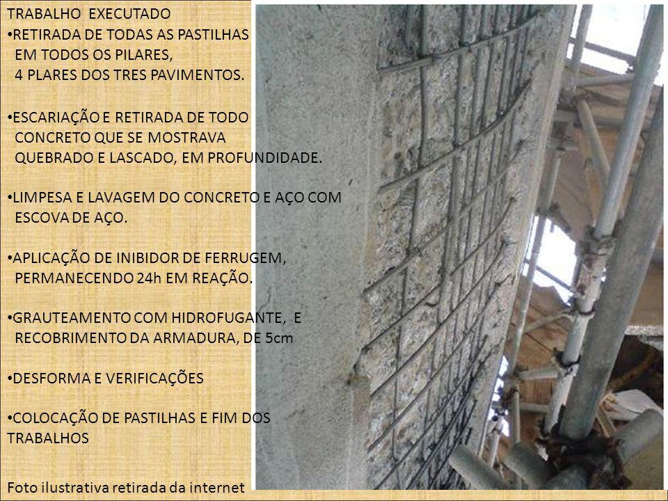 TRABALHO EXECUTADO Foto ilustrativa retirada da internet RETIRADA DE TODAS AS PASTILHAS EM TODOS OS PILARES, 4 PLARES DOS TRES PAVIMENTOS. ESCARIAÇÃO