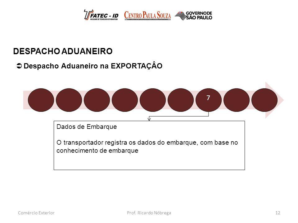 Dados de Embarque O transportador registra os dados do embarque, com base no conhecimento de embarque 12  Despacho Aduaneiro na EXPORTAÇÂO DESPACHO ADUANEIRO Comércio Exterior 7 Prof.