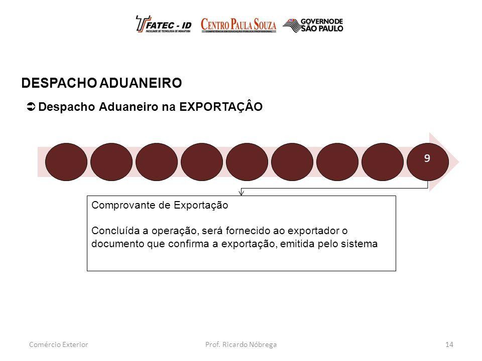 Comprovante de Exportação Concluída a operação, será fornecido ao exportador o documento que confirma a exportação, emitida pelo sistema 14  Despacho Aduaneiro na EXPORTAÇÂO DESPACHO ADUANEIRO Comércio Exterior 9 Prof.