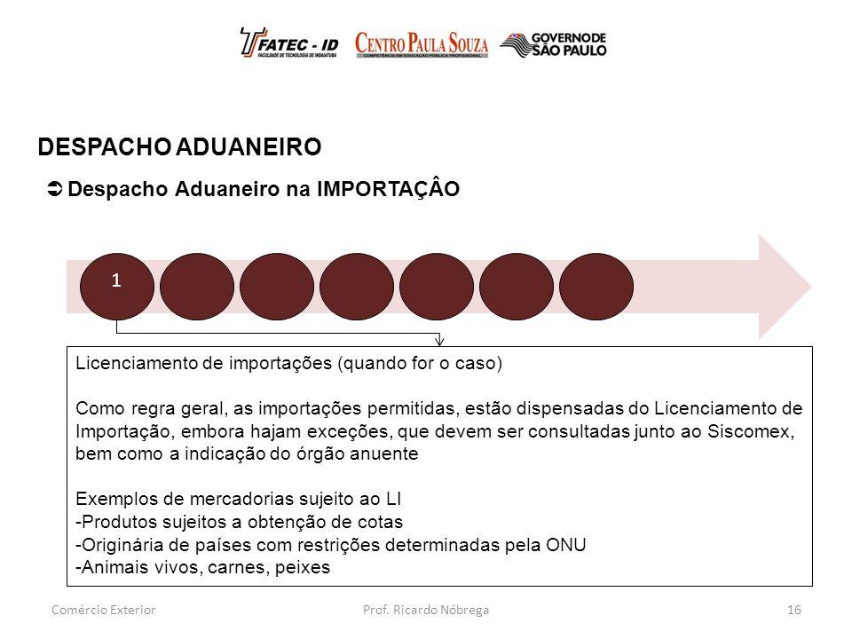 Licenciamento de importações (quando for o caso) Como regra geral, as importações permitidas, estão dispensadas do Licenciamento de Importação, embora hajam exceções, que devem ser consultadas junto ao Siscomex, bem como a indicação do órgão anuente Exemplos de mercadorias sujeito ao LI -Produtos sujeitos a obtenção de cotas -Originária de países com restrições determinadas pela ONU -Animais vivos, carnes, peixes 16  Despacho Aduaneiro na IMPORTAÇÂO DESPACHO ADUANEIRO Comércio Exterior 1 Prof.