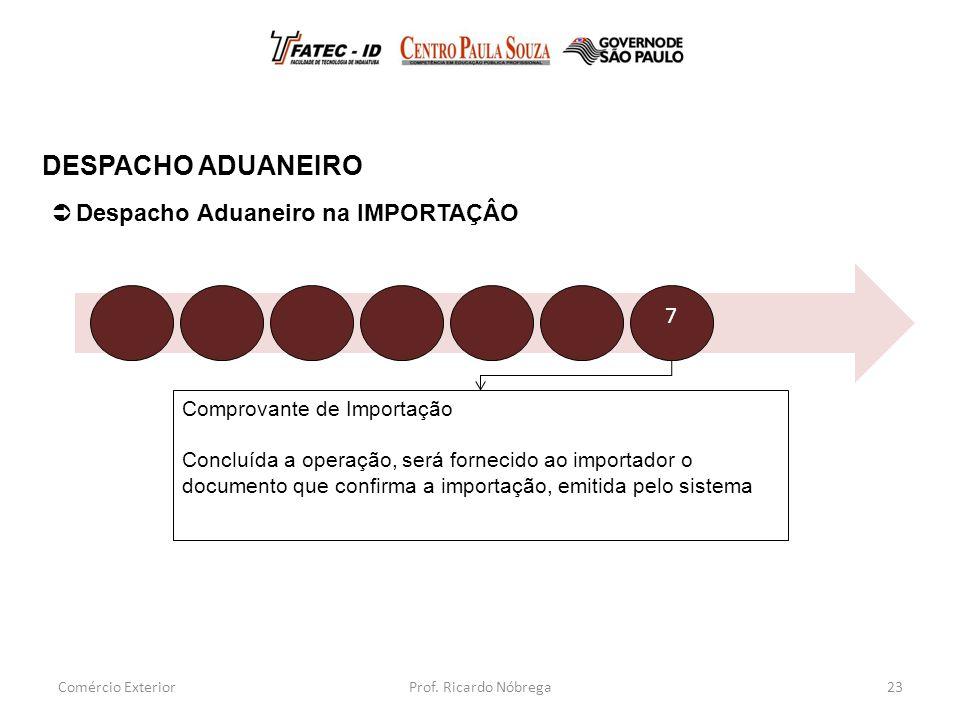 Comprovante de Importação Concluída a operação, será fornecido ao importador o documento que confirma a importação, emitida pelo sistema 23  Despacho Aduaneiro na IMPORTAÇÂO DESPACHO ADUANEIRO Comércio Exterior 7 Prof.