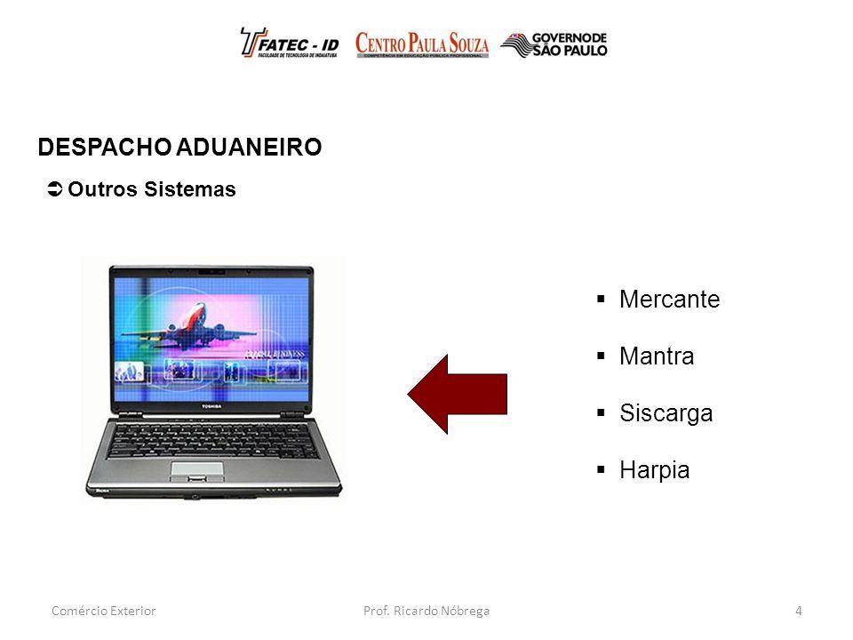 4  Outros Sistemas DESPACHO ADUANEIRO Comércio Exterior  Mercante  Mantra  Siscarga  Harpia Prof.