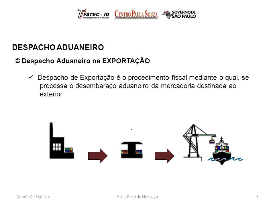 5  Despacho Aduaneiro na EXPORTAÇÂO Despacho de Exportação é o procedimento fiscal mediante o qual, se processa o desembaraço aduaneiro da mercadoria destinada ao exterior DESPACHO ADUANEIRO Comércio ExteriorProf.