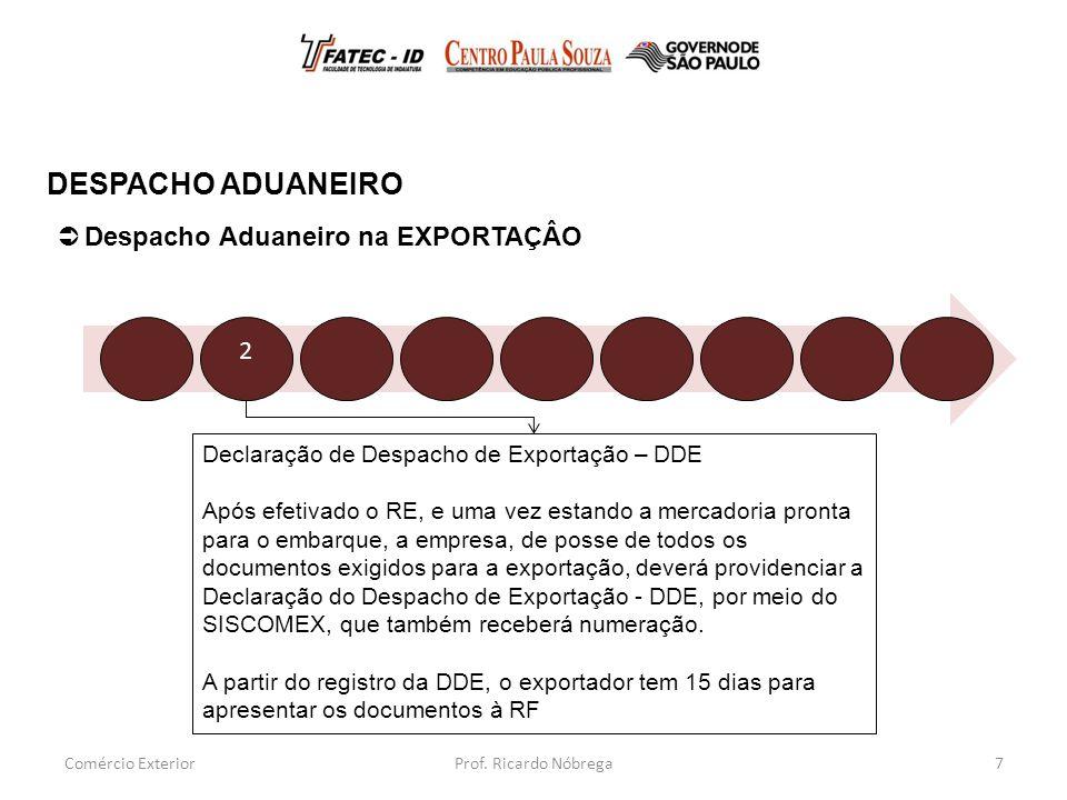Declaração de Despacho de Exportação – DDE Após efetivado o RE, e uma vez estando a mercadoria pronta para o embarque, a empresa, de posse de todos os documentos exigidos para a exportação, deverá providenciar a Declaração do Despacho de Exportação - DDE, por meio do SISCOMEX, que também receberá numeração.