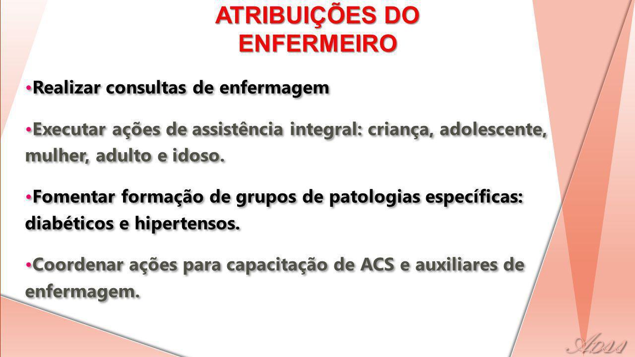Realizar consultas de enfermagem Executar ações de assistência integral: criança, adolescente, mulher, adulto e idoso.