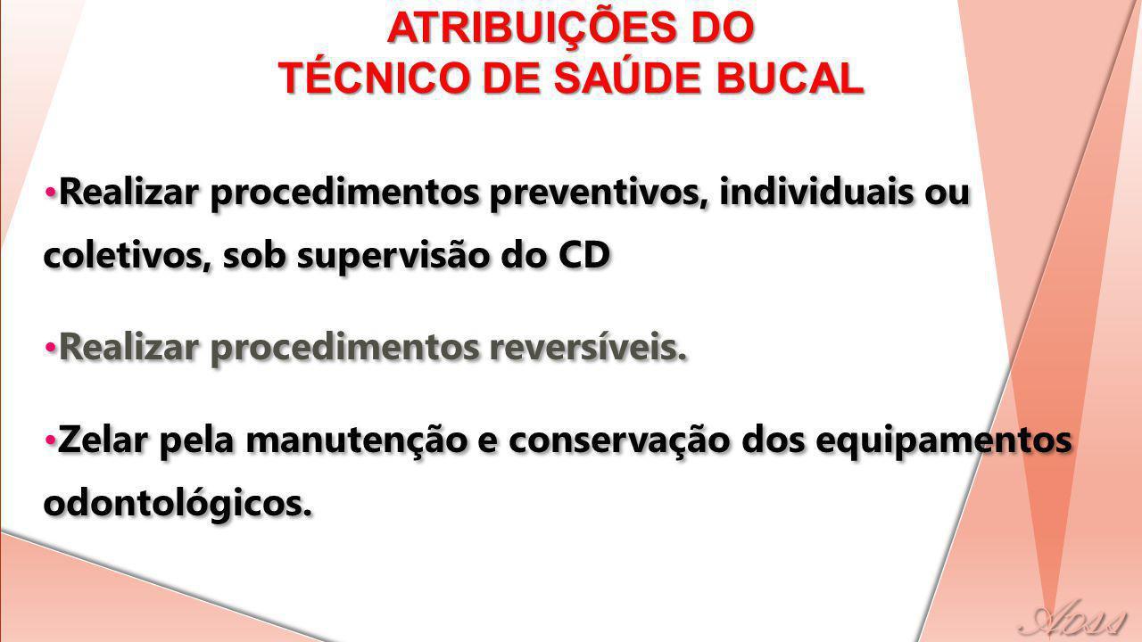 Realizar procedimentos preventivos, individuais ou coletivos, sob supervisão do CD Realizar procedimentos reversíveis.