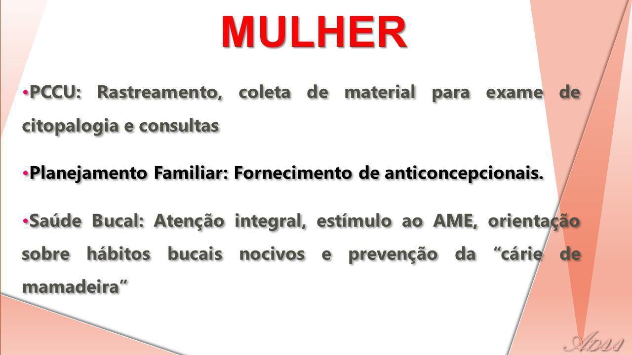 SAÚDE DA MULHER PCCU: Rastreamento, coleta de material para exame de citopalogia e consultas Planejamento Familiar: Fornecimento de anticoncepcionais.