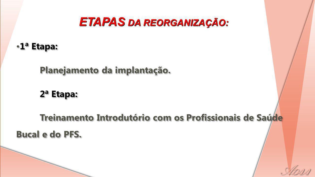 ETAPAS DA REORGANIZAÇÃO: 1ª Etapa: Planejamento da implantação.