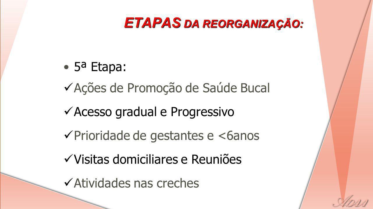 5ª Etapa: Ações de Promoção de Saúde Bucal Acesso gradual e Progressivo Prioridade de gestantes e <6anos Visitas domiciliares e Reuniões Atividades nas creches ETAPAS DA REORGANIZAÇÃO: