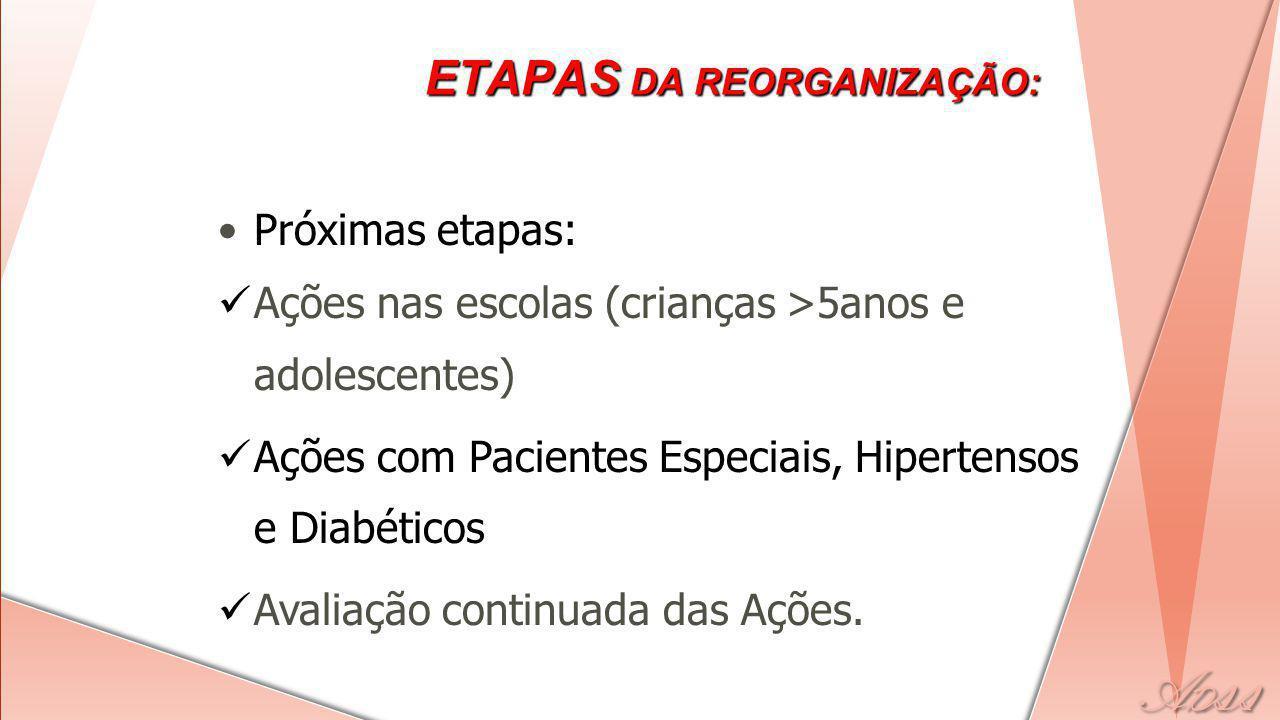 Próximas etapas: Ações nas escolas (crianças >5anos e adolescentes) Ações com Pacientes Especiais, Hipertensos e Diabéticos Avaliação continuada das Ações.