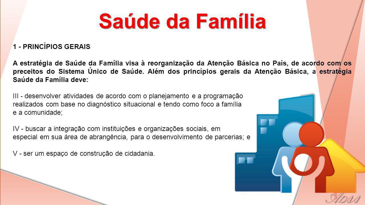 1 - PRINCÍPIOS GERAIS A estratégia de Saúde da Família visa à reorganização da Atenção Básica no País, de acordo com os preceitos do Sistema Único de Saúde.