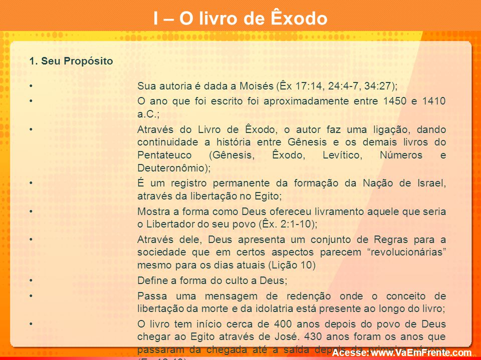 I – O livro de Êxodo 1.