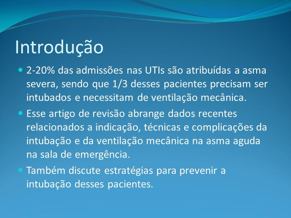 Introdução 2-20% das admissões nas UTIs são atribuídas a asma severa, sendo que 1/3 desses pacientes precisam ser intubados e necessitam de ventilação mecânica.