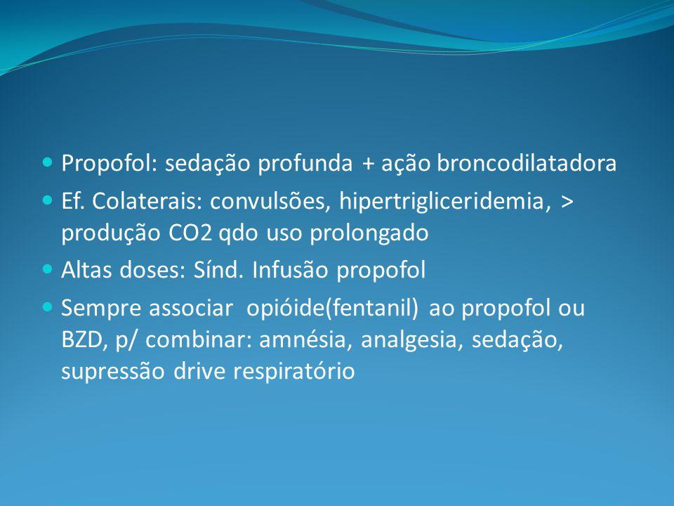 Propofol: sedação profunda + ação broncodilatadora Ef.