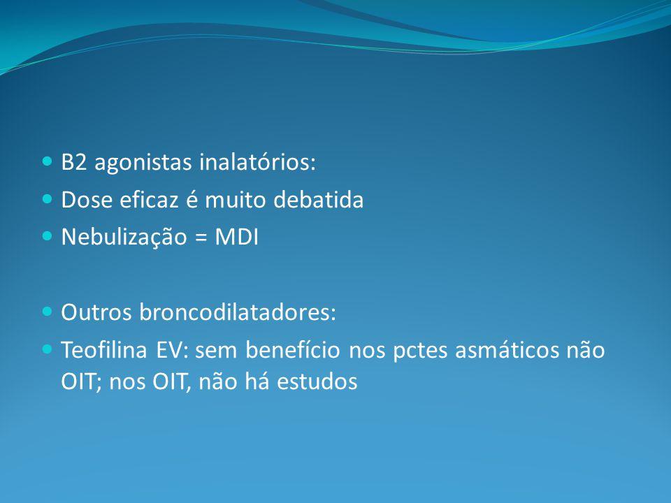 B2 agonistas inalatórios: Dose eficaz é muito debatida Nebulização = MDI Outros broncodilatadores: Teofilina EV: sem benefício nos pctes asmáticos não OIT; nos OIT, não há estudos