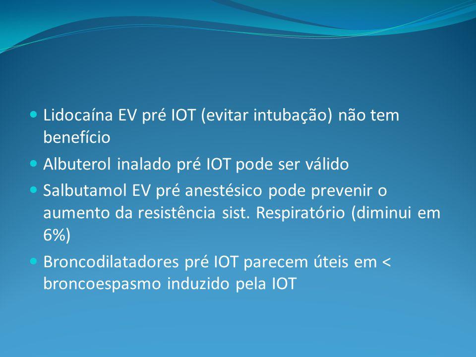 Lidocaína EV pré IOT (evitar intubação) não tem benefício Albuterol inalado pré IOT pode ser válido Salbutamol EV pré anestésico pode prevenir o aumento da resistência sist.