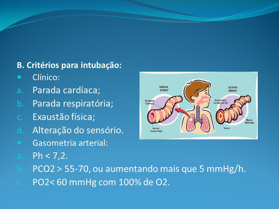 B.Critérios para intubação: Clínico: a. Parada cardíaca; b.