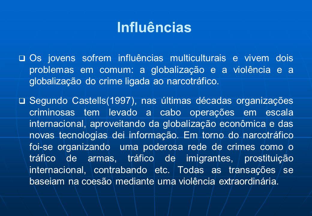 Influências  Os jovens sofrem influências multiculturais e vivem dois problemas em comum: a globalização e a violência e a globalização do crime liga