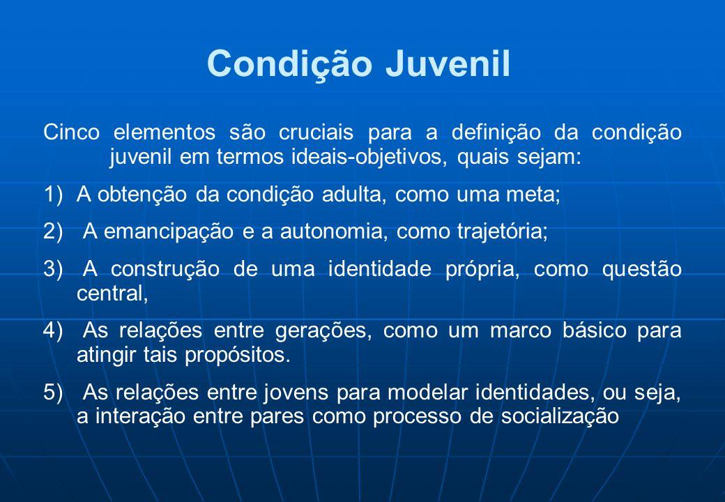 Condição Juvenil Cinco elementos são cruciais para a definição da condição juvenil em termos ideais-objetivos, quais sejam: 1)A obtenção da condição a