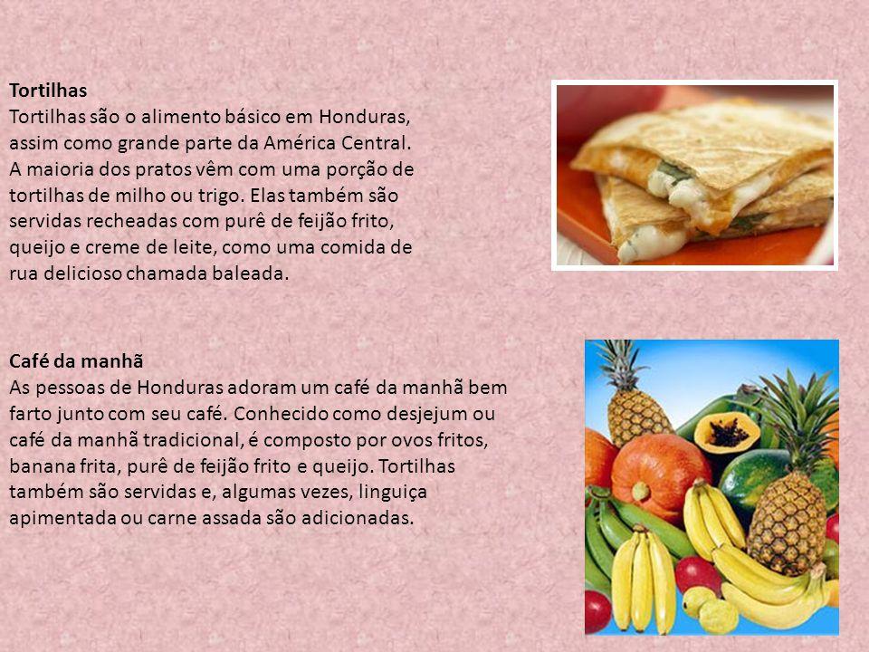 Café da manhã As pessoas de Honduras adoram um café da manhã bem farto junto com seu café. Conhecido como desjejum ou café da manhã tradicional, é com